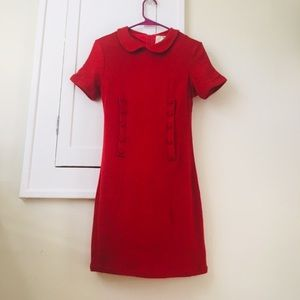 Red ModCloth 60s Dress Peter Pan Collar Sabrina